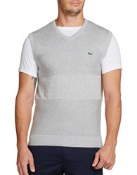 Lacoste Golf Cotton Textured Sweater Vest Silver