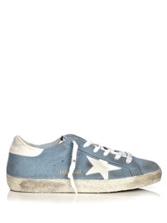 Golden Goose Super Star Low Top Suede Trainers Blue White