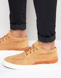 Pointer Mathieson Mid Plimsolls In Suede Tan