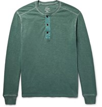J.Crew Garment Dyed Slub Cotton Jersey Henley T Shirt Forest Green