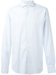 Barba Cutaway Collar Shirt Blue