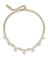 Temple St. Clair Royal Blue Moonstone Diamond And 18K Yellow Gold Half Bib Necklace