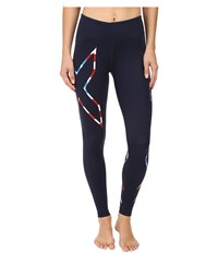 2Xu Mid Rise Compression Tights Navy Stars 'N Stripes Women's Workout