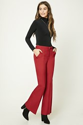 Forever 21 Flared Woven Trousers Burgundy