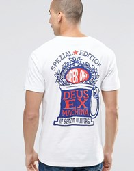 Deus Ex Machina T Shirt With Rose Special Edition Back Print White