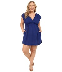Lauren Ralph Lauren Plus Size Crushed Cotton Farrah Dress Cover Up Deep Ocean Blue Women's Swimwear