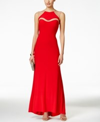 Betsy And Adam Sleeveless Illusion Cutout Halter Gown