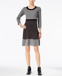 Tommy Hilfiger Colorblock Ribbed Sweater Dress Grey