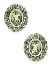 Olivia Leone Sterling Silver Lemon Topaz And Peridot Oval Stud Earrings Yellow