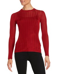 Dkny Sheer Knit Sweater Red
