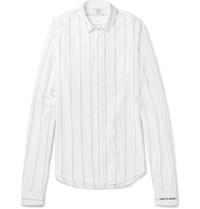Vetements Exaggerated Sleeve Striped Cotton Shirt White