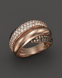 Bloomingdale's Brown And White Diamond Crossover Ring In 14K Rose Gold Brown Pink