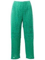 Pleats Please By Issey Miyake Print Ribbed Cropped Trousers Green