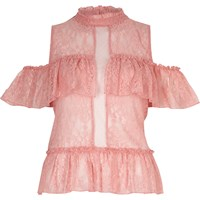 River Island Womens Blush Pink Layered Frill Cold Shoulder Top