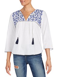 Collective Concepts Embroidered Cotton Pesant Blouse White Blue