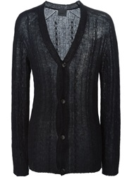 Laneus Cable Knit V Neck Cardigan Black
