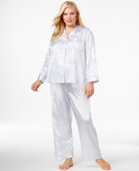 Miss Elaine Plus Size Long Sleeve Top And Pajama Pants Blue