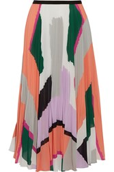 Raoul Pleated Printed Georgette Midi Skirt Orange