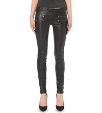 Paige Edgemont Skinny Mid Rise Leather Jeans Black