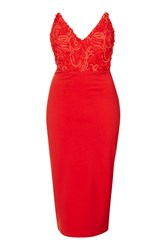 Textured Pointed Bust Midi Dress By Rare