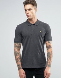 Lyle And Scott Pique Polo Eagle Logo Charcoal Charcoal Grey