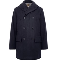 J.Crew Wallace And Barnes Faux Shearling Trimmed Wool Peacoat Blue