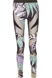 Just Cavalli Mesh Paneled Printed Stretch Jersey Leggings Black