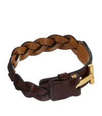 Tom Ford Woven Leather Bracelet Unisex Brown
