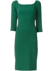 Dolce And Gabbana Fitted Midi Dress Green