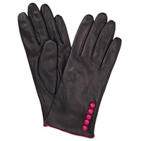 John Lewis Fleece Lined 5 Button Leather Gloves Black Pink