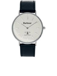 Barbour Hatrtley Leather Strap Watch Black Silver Black Silver