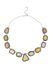 Sterling Silver Druzy And Austrian Crystal Statement Necklace White