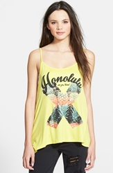 Living Doll 'Honolulu' Graphic High Low Tank Juniors Yellow