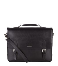 Burberry Shoes And Accessories Buckle Front Saffiano Leather Satchel Unisex Black