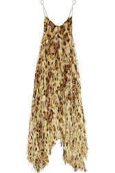 Michael Kors Feather Embellished Silk Chiffon Gown Brown