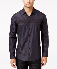 Inc International Concepts Men's Joyous Pieced Stripe Long Sleeve Shirt Only At Macy's Black