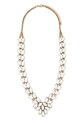 Forever 21 Faux Gemstone Statement Necklace Antic Gold White