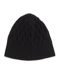Shmoll Cable Knit Beanie Hat Black Black Theory