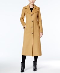 Anne Klein Petite Wool Cashmere Blend Notch Collar Maxi Walker Coat Camel