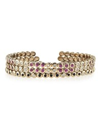 Lc Estate Jewelry Collection Estate 18K Diamond And Pink And Blue Sapphire Triple Bangle Set Women's
