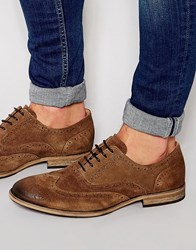 Selected Homme Bolton Suede Brogue Shoes Brown