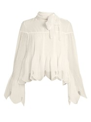 See By Chloe Pleated Crepe Blouse White
