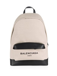 Balenciaga Navy Canvas And Leather Backpack