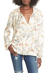 Wayf Women's 'Townsend' Long Sleeve Peasant Top Beige Floral