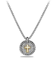 David Yurman Cable Collectibles Cross Charm Necklace With Diamonds And 18K Gold Silver Gold
