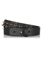 M Missoni Ring Embellished Leather Waist Belt Black
