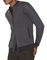 John Varvatos Quilted Long Sleeve Knit Jacket Charcoal