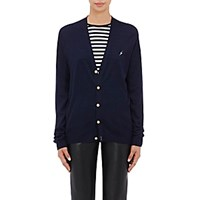 Harvey Faircloth Women's Embroidered Cardigan Navy