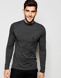 Asos Muscle Long Sleeve T Shirt With Turtleneck And Logo In Gray Charcoal