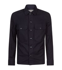 Sandro Army Flannel Shirt Male Blue